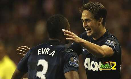 Adnan Januzaj of Manchester United celebrates scoring his second goal of the game
