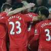 Liverpool's players celebrate the opening goal by English midfielder Jordan Henderson during the English Premier League football match between Swansea City and Liverpool at the Liberty Stadium in Swansea, south Wales on March 16, 2015.  AFP PHOTO / PAUL ELLIS..RESTRICTED TO EDITORIAL USE. NO USE WITH UNAUTHORIZED AUDIO, VIDEO, DATA, FIXTURE LISTS, CLUB/LEAGUE LOGOS OR LIVE SERVICES. ONLINE IN-MATCH USE LIMITED TO 45 IMAGES, NO VIDEO EMULATION. NO USE IN BETTING, GAMES OR SINGLE CLUB/LEAGUE/PLAYER PUBLICATIONS.        (Photo credit should read PAUL ELLIS/AFP/Getty Images)