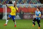 NEW PLYMOUTH, NEW ZEALAND - JUNE 11:  Gabriel Jesus of Brazil controls the ball while Nahitan Nandez of Uruguay looks on during the FIFA U-20 World Cup New Zealand 2015 Round of 16 match between Brazil and Uruguay at Stadium Taranaki on June 11, 2015 in New Plymouth, New Zealand.  (Photo by Hagen Hopkins/Getty Images)