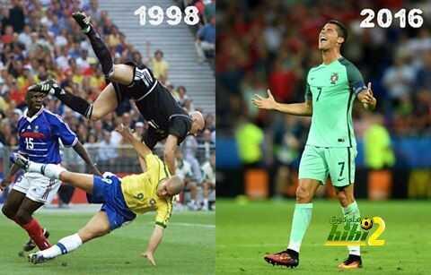 صورة : لطالما تواجد إسم رونالدو في مواجهة المنتخب الفرنسي في النهائي !! coobra.net
