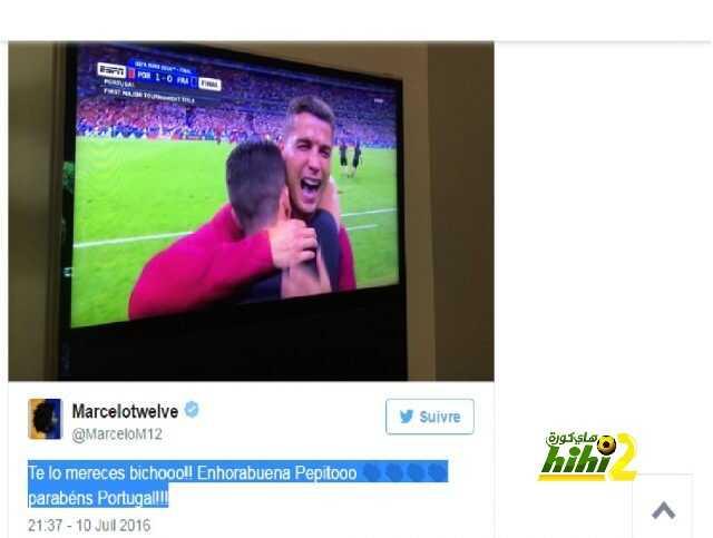 صورة : مارسيلو يهنئ زميله كريستيانو بعد الفوز بلقب اليورو  ! coobra.net