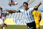 Argentina's Giovanni Simeone celebrates after scoring against Peru during their soccer match for the South American Under-20 Championship in Montevideo January 26, 2015. REUTERS/Andres Stapff (URUGUAY - Tags: SPORT SOCCER)