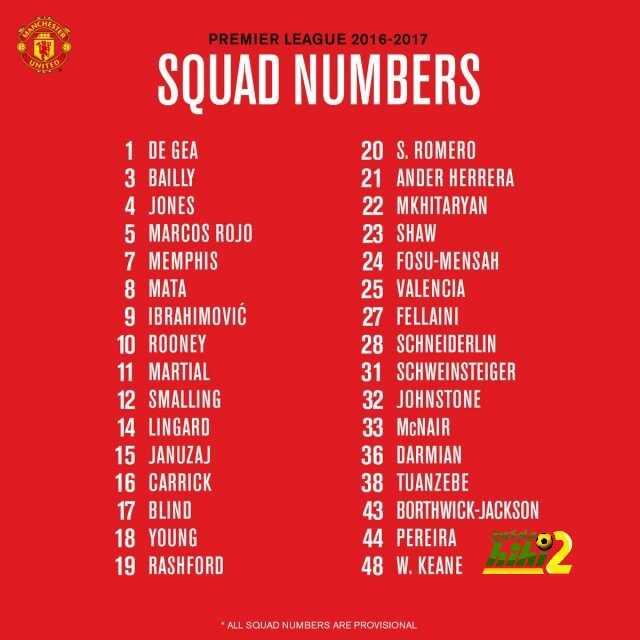 مانشستر يونايتد يعلن عن أرقام القمصان الجديدة للاعبين coobra.net