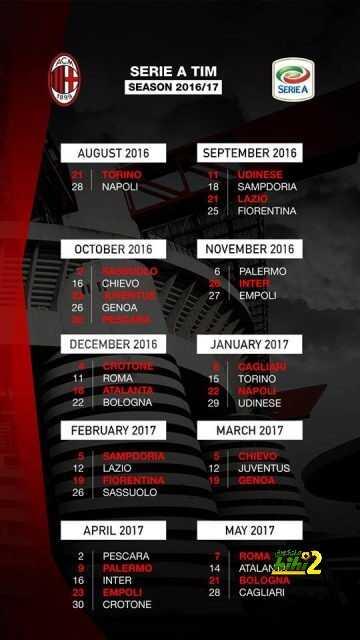 صورة : جدول مباريات ميلان بالموسم الجديد coobra.net