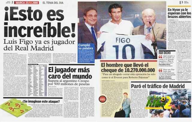 صور: 16 عاما مرت على صفقة إنضمام فيجو لريال مدريد والتى غيرت تاريخ كرة القدم للأبد ! coobra.net