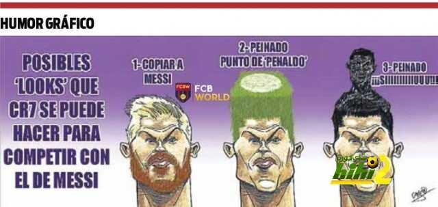 كاريكاتير ساخر من السبورت الكتالونية حول ردة فعل رونالدو على مظهر ميسي الجديد coobra.net