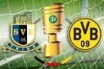 Bildmontage Logos EIntracht Trier und BVB neben dem DFB-Pokal