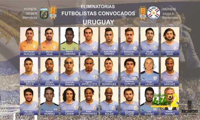 قائمة منتخب الآوروجواي لمباراتي الآرجنتين والباراجواي coobra.net