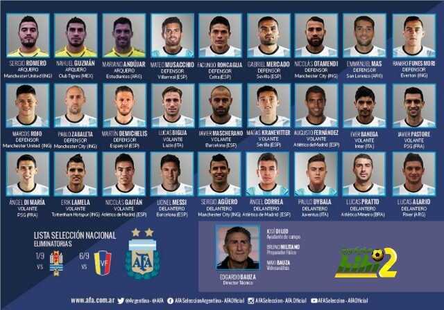 قائمة منتخب الآرجنتين لمباراتي فنزويلا والآوروجواي coobra.net