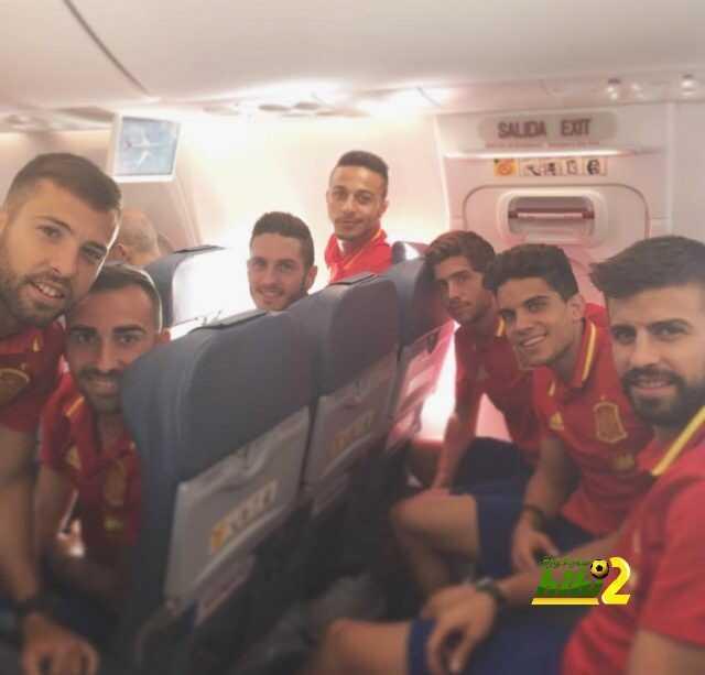 صورة : منتخب إسبانيا في طريقه لبلجيكا coobra.net