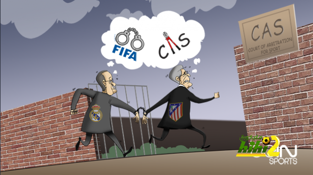 كاريكاتير الـ beINSPORTS حول عقوبة إيقاف الريال واتليتكو مدريد عن التعاقدات coobra.net
