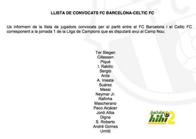 قائمة برشلونة لمواجهة سيلتك coobra.net