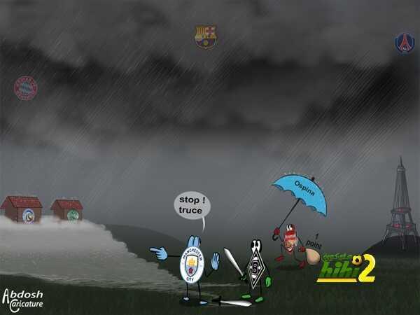 كاريكاتير هاي كورة .. أمطار مباريات دوري الأبطال تتسبب في غرق أندية أوروبية كثيرة ! coobra.net