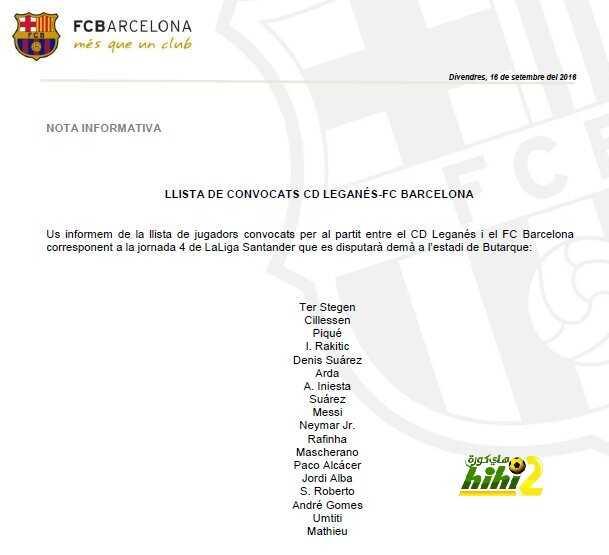 قائمة برشلونة لمواجهة ليجانيس coobra.net