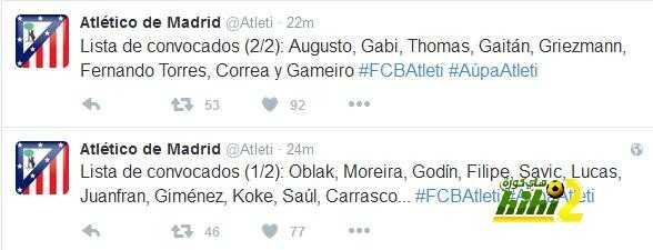 قائمة اتليتكو مدريد لمواجهة برشلونة coobra.net