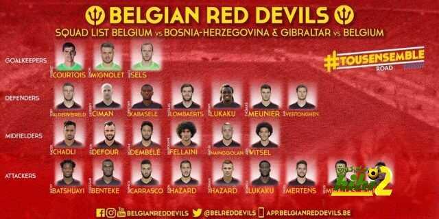 قائمة منتخب بلجيكا لمواجهتي البوسنة والهرسك وجبل طارق coobra.net