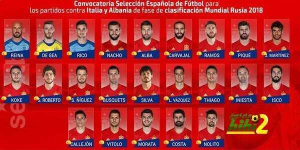 تشكيلة المنتخب الإسباني المستدعاة لتصفيات مونديال روسيا ! coobra.net