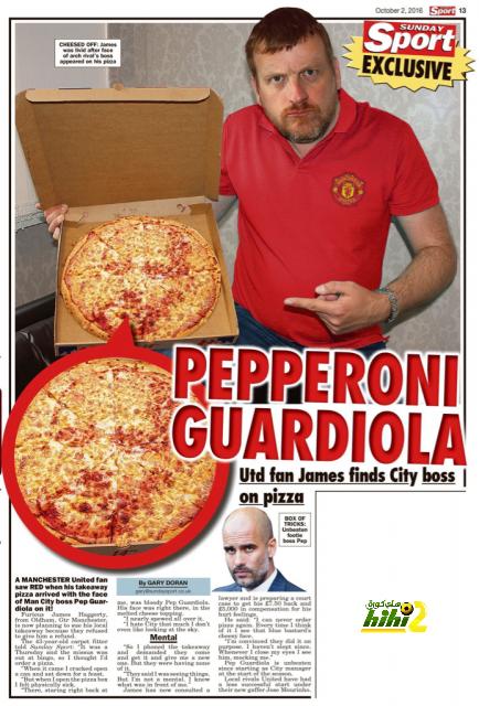 صورة : وجه جوارديولا يتسبب في مقاضاة مطعم بيتزا coobra.net